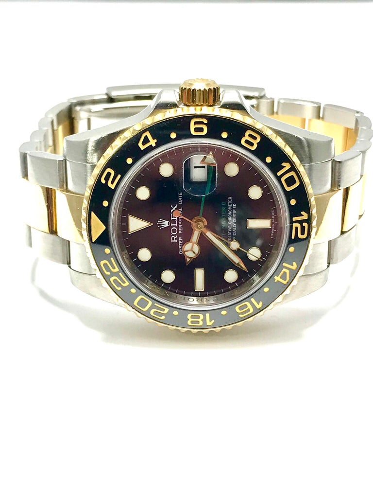 Rolex 18 Karat and Stainless Steel GMT Master II with Black Ceramic Bezel For Sale 1