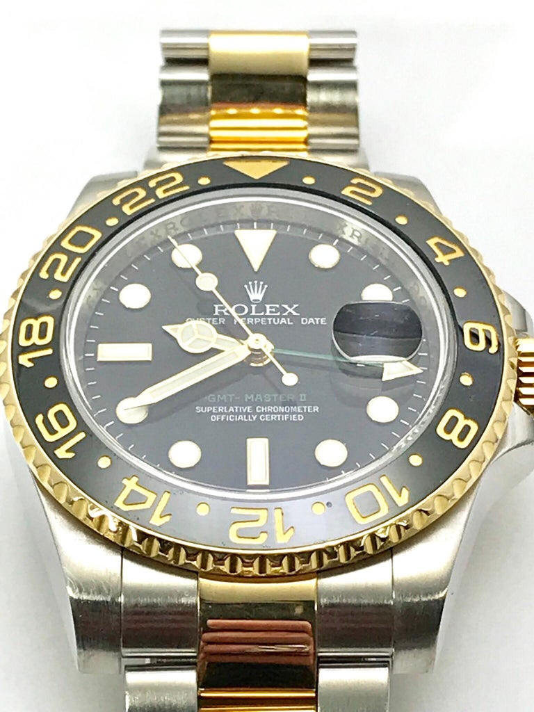 Rolex 18 Karat and Stainless Steel GMT Master II with Black Ceramic Bezel For Sale 4