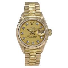Rolex 18kt Lady President Datejust Diamond Dial Bark Finish, 1980's