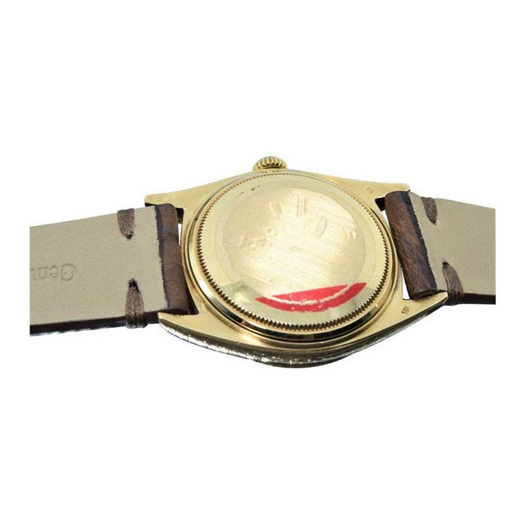 Rolex 18 Karat Yellow Gold Oyster Perpetual Day Date Ref 1803 Dated 1969 For Sale 6