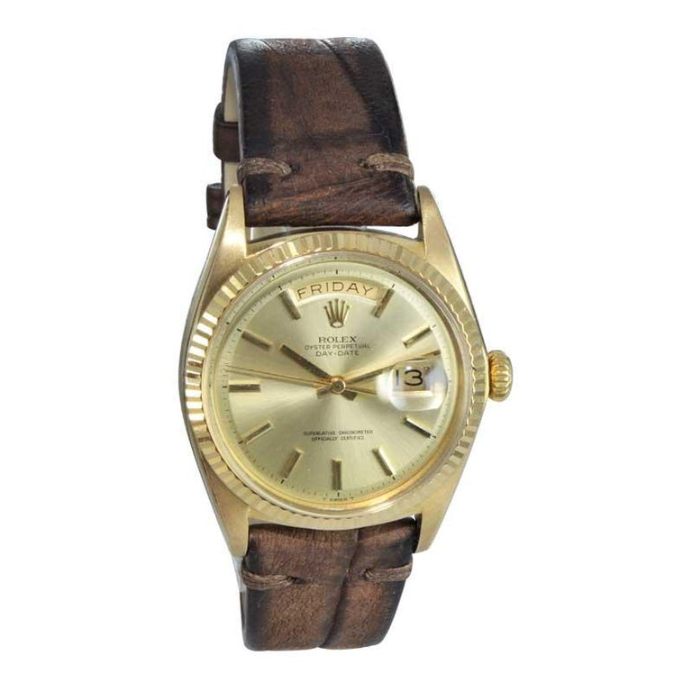 Modern Rolex 18 Karat Yellow Gold Oyster Perpetual Day Date Ref 1803 Dated 1969 For Sale