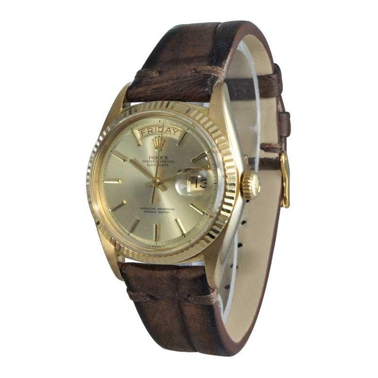 Women's or Men's Rolex 18 Karat Yellow Gold Oyster Perpetual Day Date Ref 1803 Dated 1969 For Sale