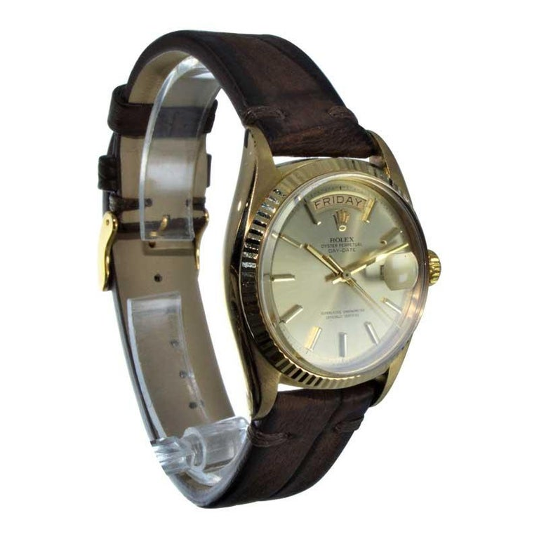 Rolex 18 Karat Yellow Gold Oyster Perpetual Day Date Ref 1803 Dated 1969 For Sale 2
