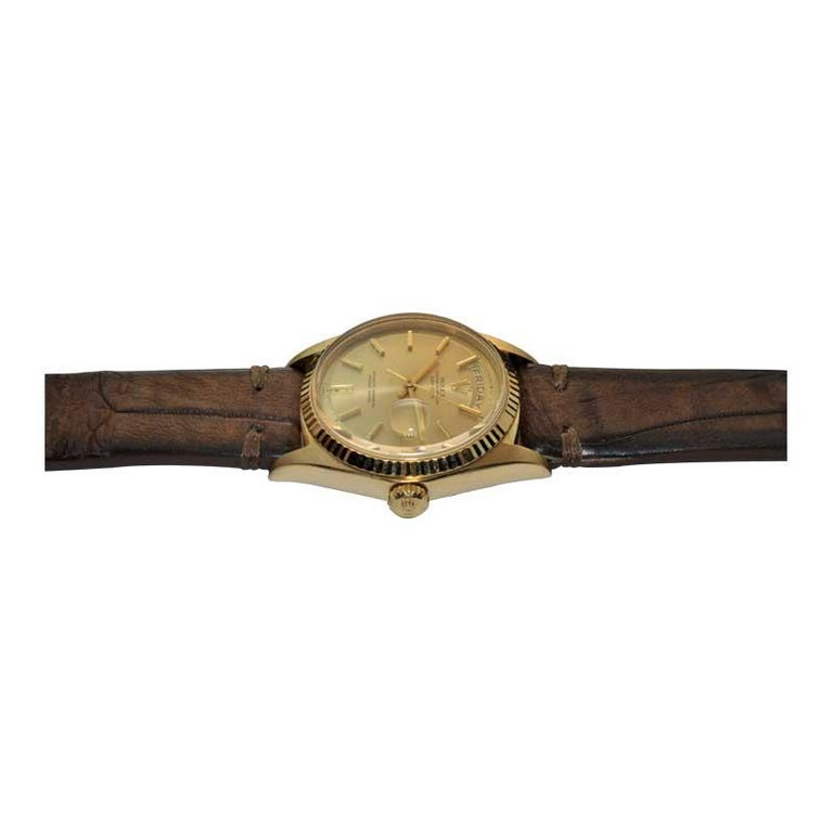 Rolex 18 Karat Yellow Gold Oyster Perpetual Day Date Ref 1803 Dated 1969 For Sale 3
