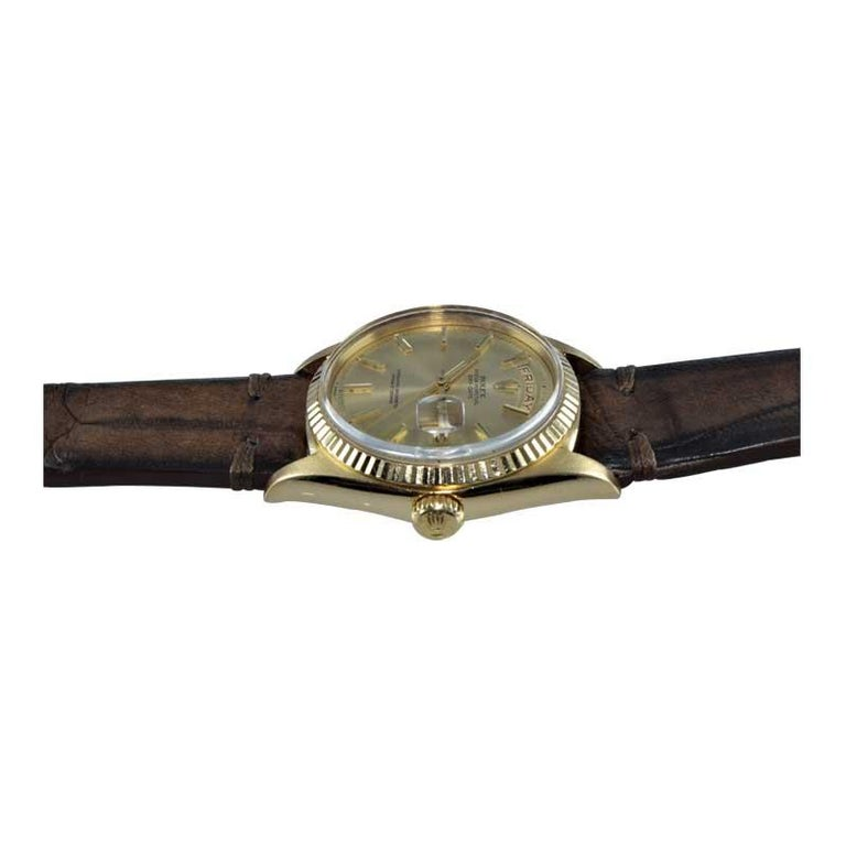Rolex 18 Karat Yellow Gold Oyster Perpetual Day Date Ref 1803 Dated 1969 For Sale 4