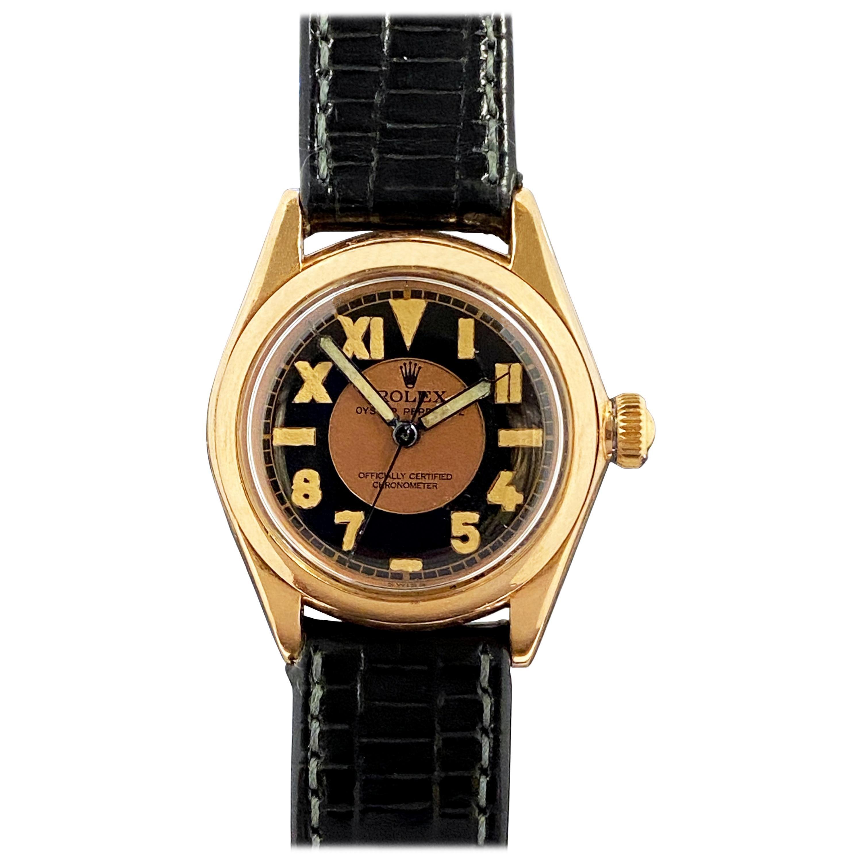 Rolex 1930s Rose Gold Ref 3121 Mid Size Mechanical Wrist Watch