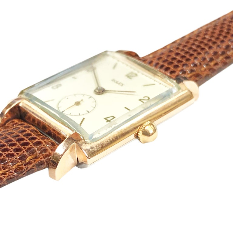 Art Deco Rolex 1940 Rose Gold and Steel Mechanical Wristwatch For Sale