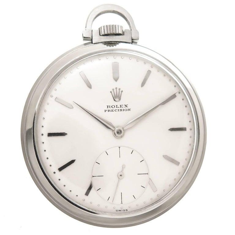 Rolex Stainless Steel Manual Wind Pocket Watch, 1940s