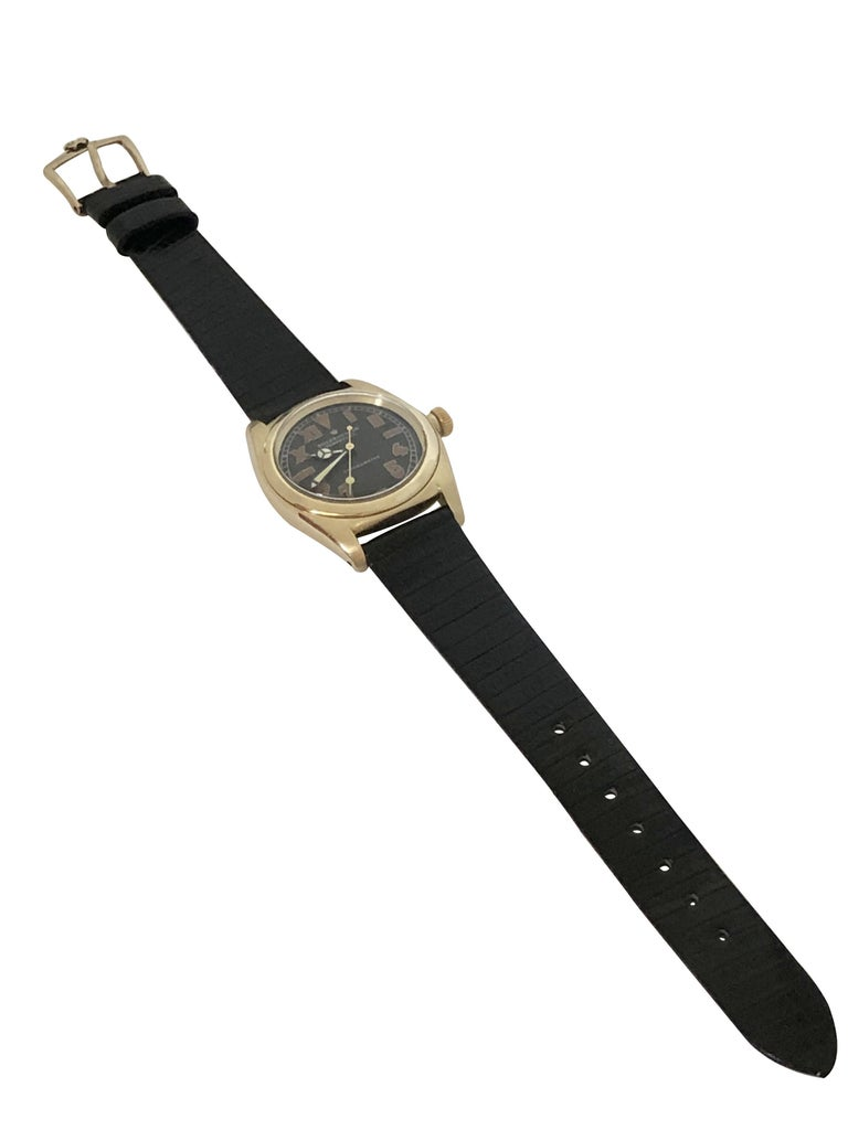 Rolex 1940s Yellow Gold Automatic Bubble Back Wristwatch For Sale 2
