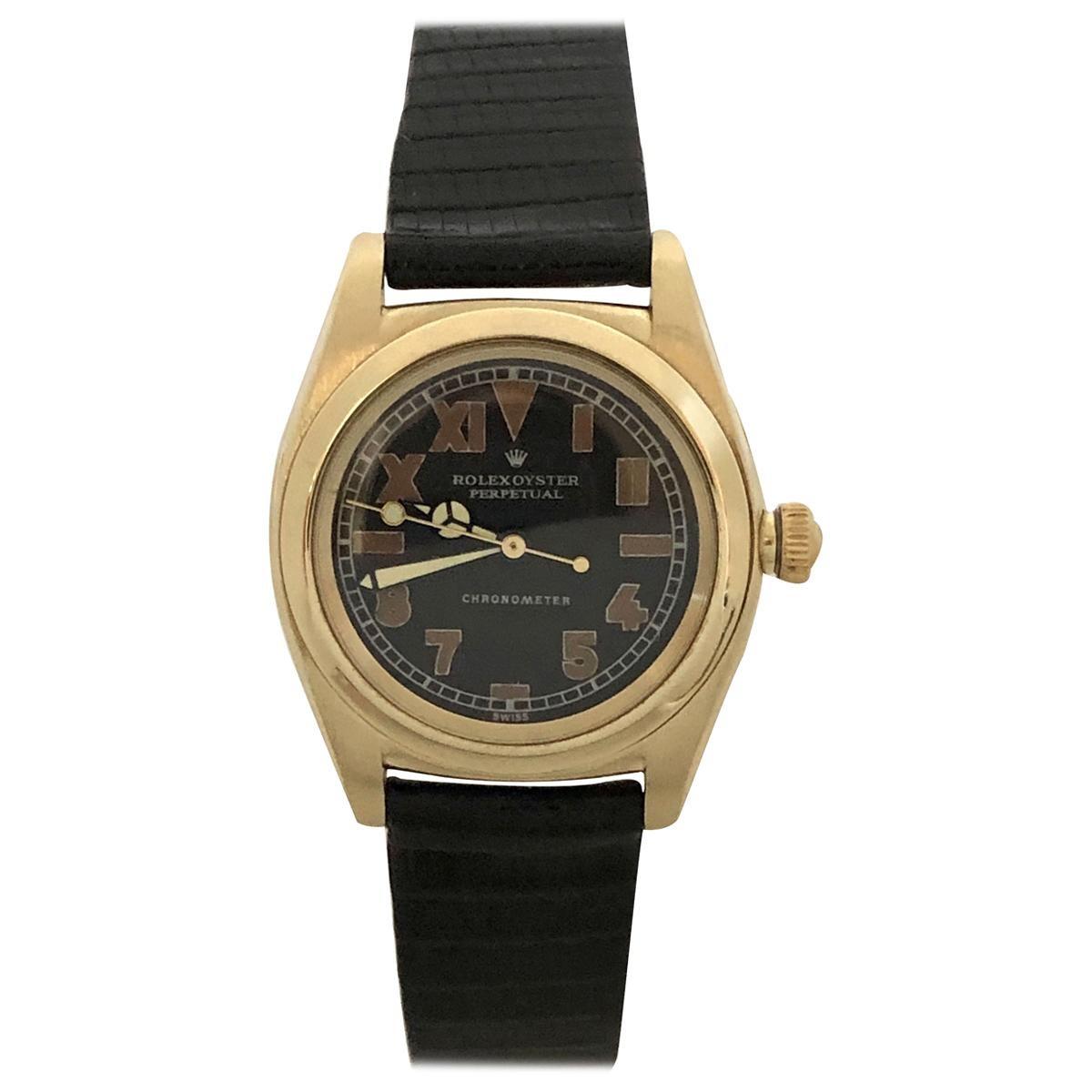 Rolex 1940s Yellow Gold Automatic Bubble Back Wristwatch