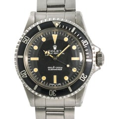 Rolex 1972 Submariner 5513 Serif Men's Automatic Vintage Watch Stainless