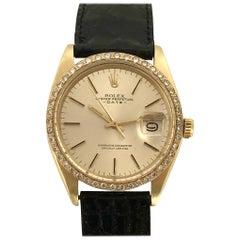 Rolex 1978 Yellow Gold Self Winding Date Wristwatch with Custom Diamond Bezel