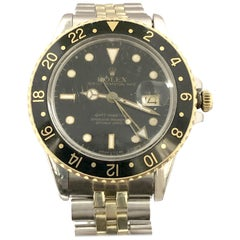 Rolex 1987 Reference 16753 GMT Master Gold and Steel Wristwatch