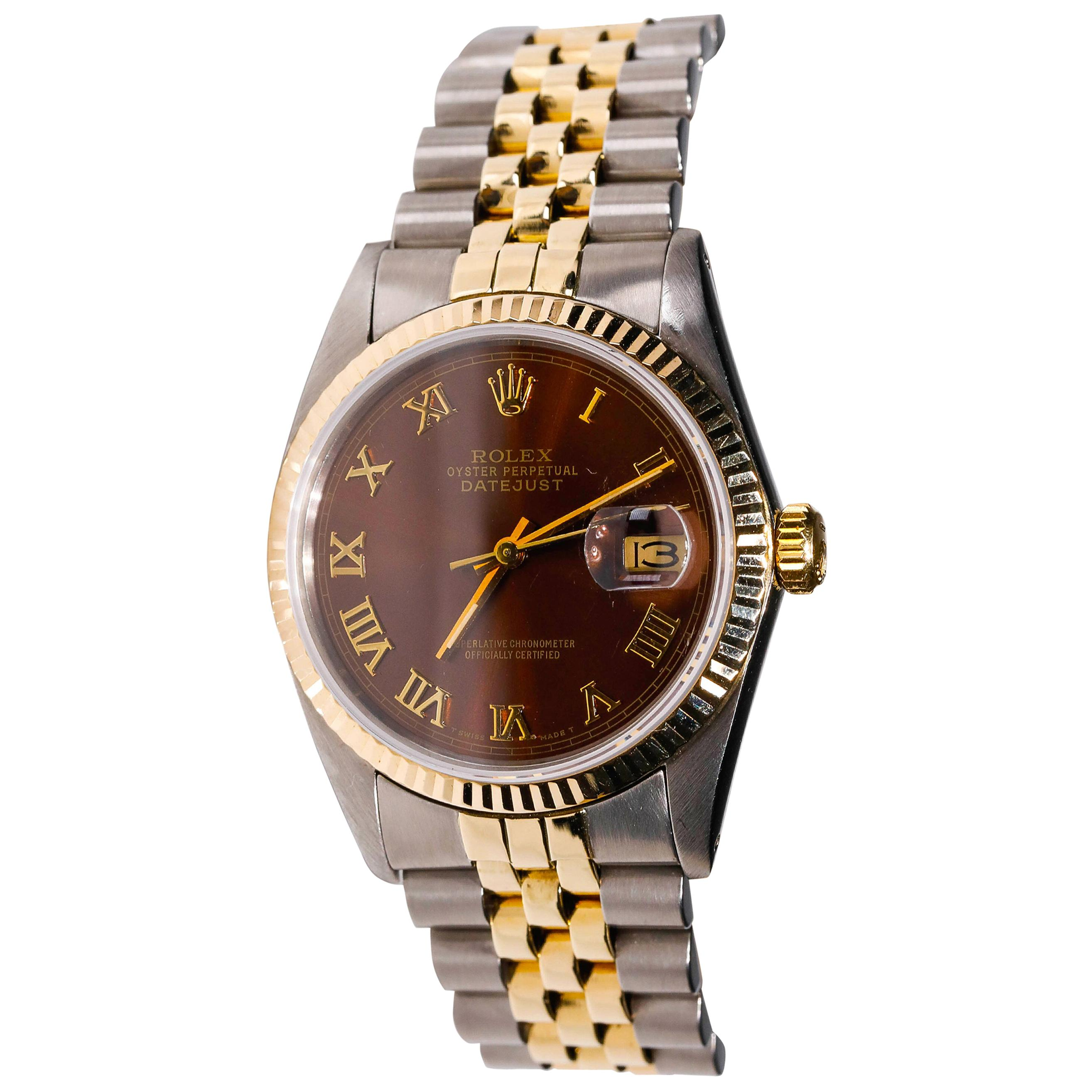 Rolex 2-Tone Stainless Steel Datejust Brown Roman Numerals Automatic Wristwatch