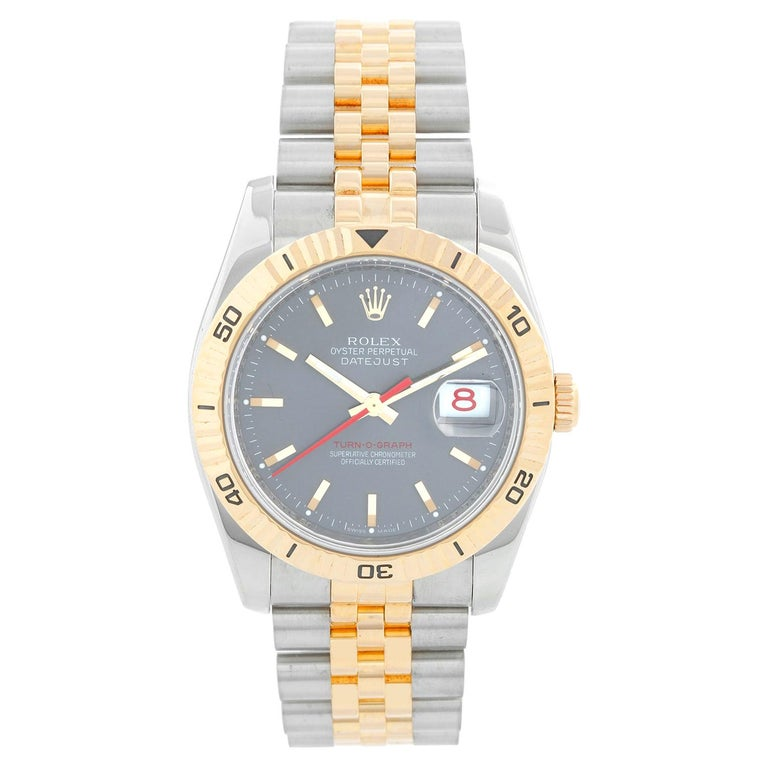 Rolex 2-Tone Turnograph Men's Steel & Gold Watch Slate Dial 116263 For Sale