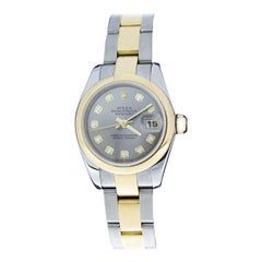 Rolex Two-Tone 26mm Datejust Watch with Slate Diamond Dial, Model 179163