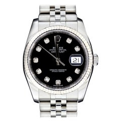 Rolex Stainless Steel 36mm Datejust Watch with Black Diamond Dial, Model 116234