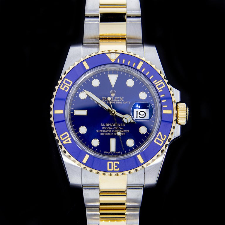 Rolex Two-Tone Submariner Watch with Blue Dial, Model 116613LB In Excellent Condition For Sale In Columbia, MO