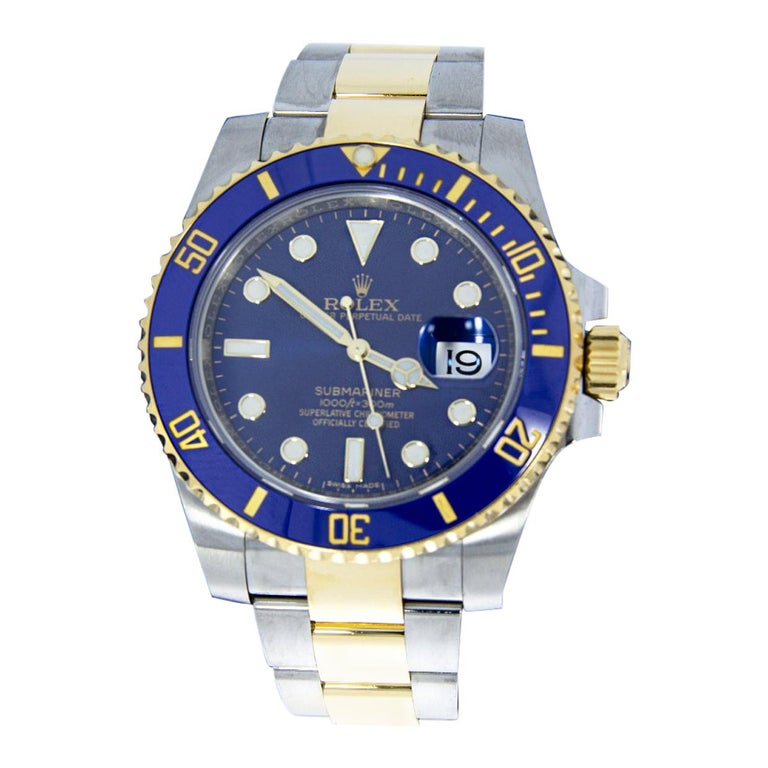 Rolex Two-Tone Submariner Watch with Blue Dial, Model 116613LB For Sale