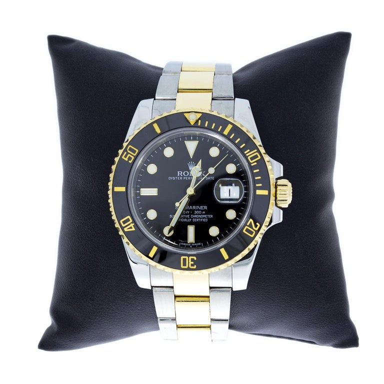 Item Details Estimated Retail $13,400.00 Brand Rolex Case Material Stainless Steel and 18K Yellow Gold Gender Mens MPN 116613 Movement Mechanical Automatic Face Color Black Case Size 40 mm Style Diver Cert/Paperwork Box & Papers  Pioneers of the