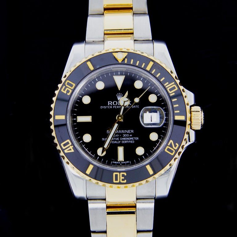 Men's Rolex Two-Tone Submariner Watch with Black Dial, Model 116613 For Sale