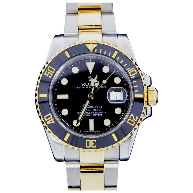 Rolex Two-Tone Submariner Watch with Black Dial, Model 116613 For Sale