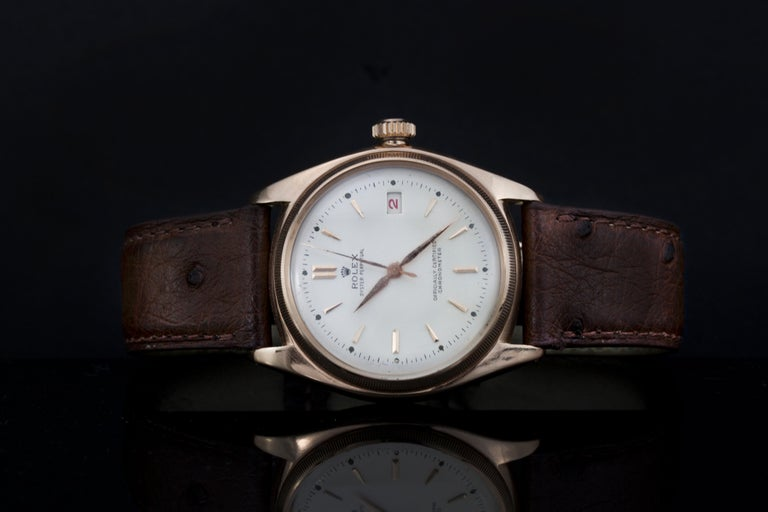 Rolex 4467 Oyster Perpetual 18 Karat Rose Gold Bubble Back, Box and Papers In Good Condition For Sale In Braintree, GB