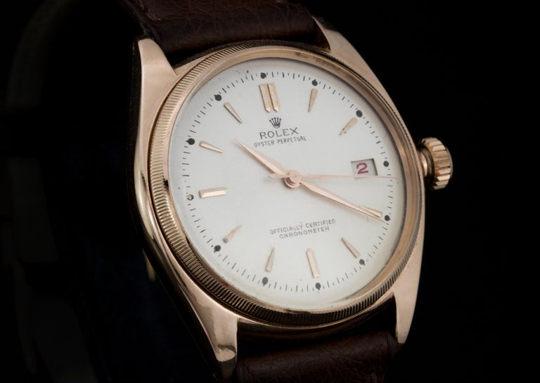 Rolex 4467 Oyster Perpetual 18 Karat Rose Gold Bubble Back, Box and Papers For Sale 1