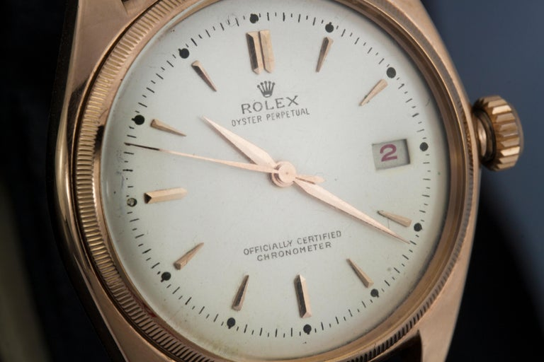Rolex 4467 Oyster Perpetual 18 Karat Rose Gold Bubble Back, Box and Papers For Sale 2