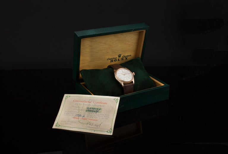 Rolex 4467 Oyster Perpetual 18 Karat Rose Gold Bubble Back, Box and Papers For Sale 3