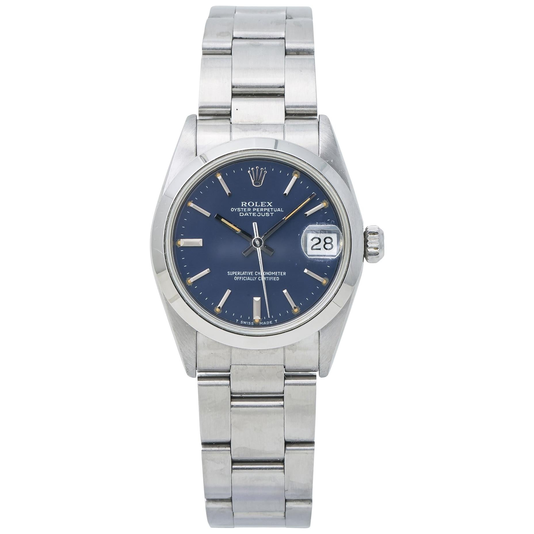 Rolex 68240 Midsize Datejust with Papers Blue Dial Stainless Steel