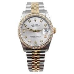 Rolex 68273 Midsize Datejust Diamond Dial Bezel 18k Yellow Gold Stainless