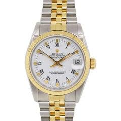 Rolex 68273 Midsize Datejust White Roman Dial Two Tone Wrist Watch