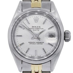 Rolex 6916 Date Silver Tapestry Dial Watch