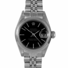 Rolex 69160 Ladies Datejust, Black Stick, Smooth Bezel and Jubilee Band