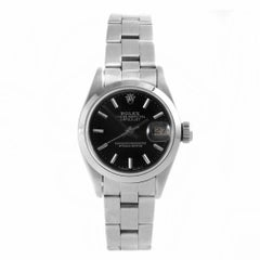 Rolex 69160 Ladies Datejust, Black Stick, Smooth Bezel and Oyster Band