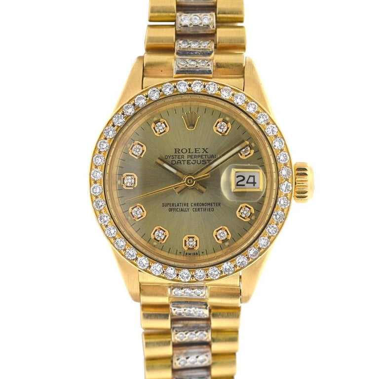 Rolex 6917 18 Karat Gold Ladies President Diamond Watch