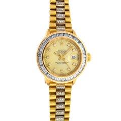 Rolex 6917 18 Karat Yellow Gold Ladies President Diamond Watch