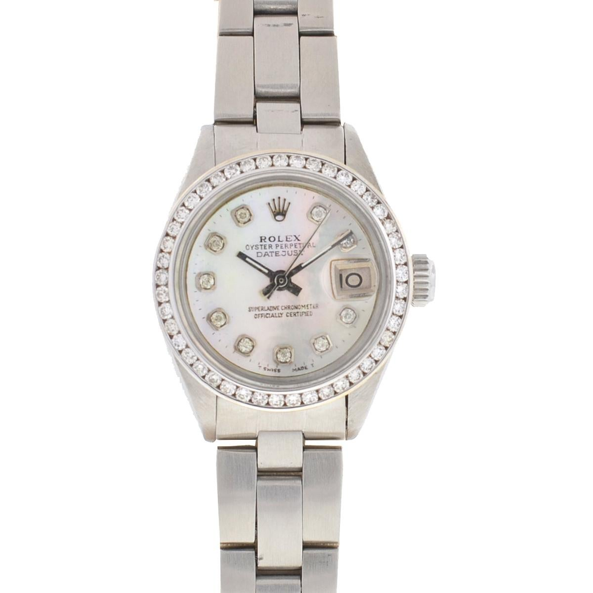 Rolex 6917 Datejust Aftermarket Mother of Pearl Diamond Dial and Bezel Watch