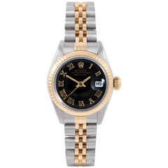 Rolex 6917 Ladies Datejust, Black Roman, Fluted Bezel and Jubilee Band