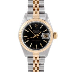 Rolex 6917 Ladies Datejust, Black Stick Dial, Fluted Bezel and Jubilee Band