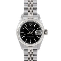 Rolex 6917 Ladies Datejust, Black Stick, Fluted and Jubilee Band