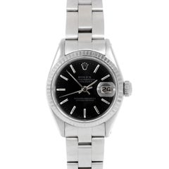 Rolex 6917 Ladies Datejust, Black Stick, Fluted Bezel and Oyster Band