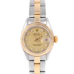 Rolex 6917 Damen Datejust, Champagner Diamant, Geriffelte Lünette und Oyster Band