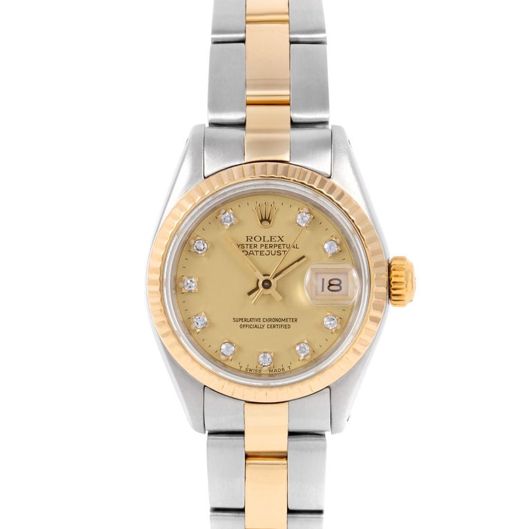 5c9bc2c8fcf Rolex 6917 Ladies Datejust, Champagne Diamond, Fluted Bezel and Oyster Band  For Sale