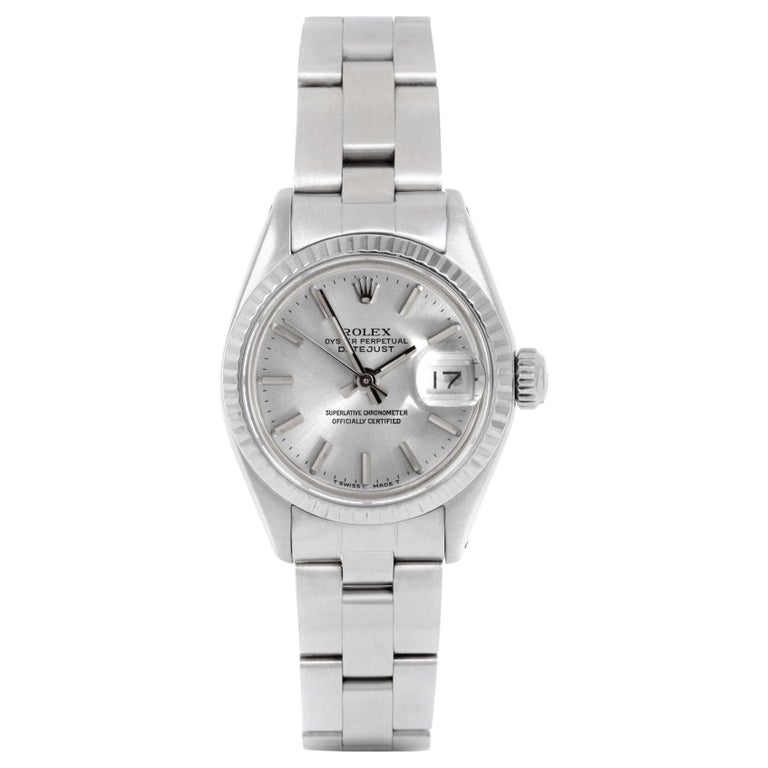 b29658988c3 Rolex 6917 Ladies Datejust, Silver Stick, Fluted Bezel and Oyster Band For  Sale