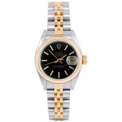Rolex 69173 Ladies Datejust, Black Stick, Fluted Bezel and Jubilee Band