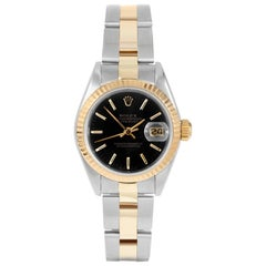 Rolex 69173 Ladies Datejust, Black Stick, Fluted Bezel and Oyster Band