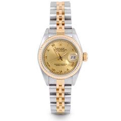 Rolex 69173 Damen Datejust, Champagner Römisch, Geriffelte Lünette und Jubilee-Band