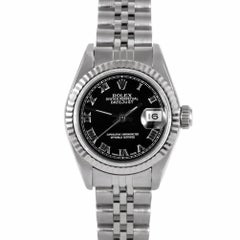 Rolex 69174 Ladies Datejust, Black Roman, Fluted Bezel and Jubilee Band
